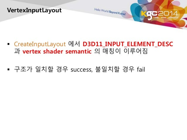 VertexInputLayout   CreateInputLayout 에서 D3D11_INPUT_ELEMENT_DESC  과 vertex shader semantic 의 매칭이 이루어짐   구조가 일치할 경우 succ...