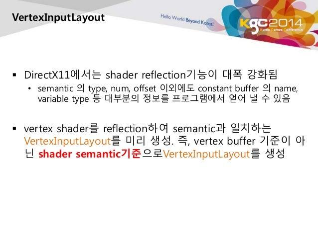 VertexInputLayout   DirectX11에서는 shader reflection기능이 대폭 강화됨  • semantic 의 type, num, offset 이외에도 constant buffer 의 name,...