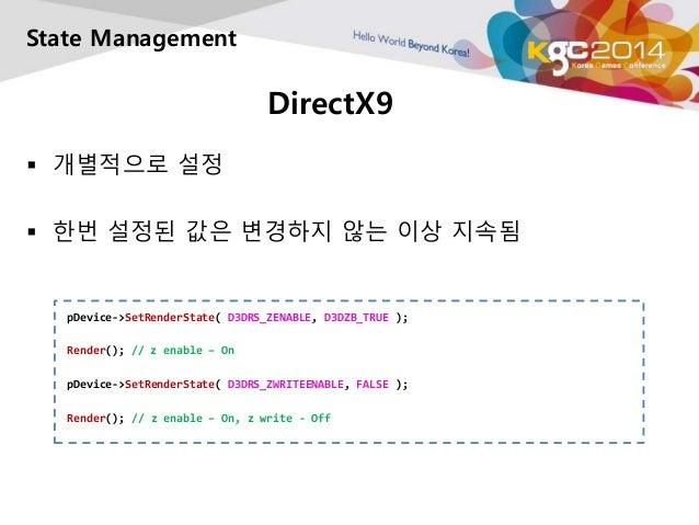DirectX9  State Management   개별적으로 설정   한번 설정된 값은 변경하지 않는 이상 지속됨  pDevice->SetRenderState( D3DRS_ZENABLE, D3DZB_TRUE ); ...