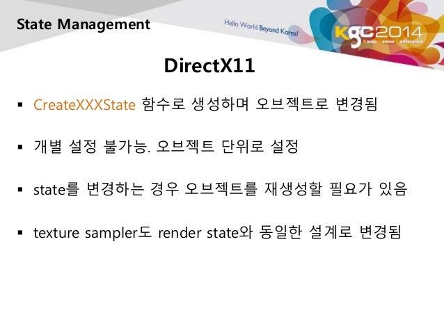 DirectX11  State Management   CreateXXXState 함수로 생성하며 오브젝트로 변경됨   개별 설정 불가능. 오브젝트 단위로 설정   state를 변경하는 경우 오브젝트를 재생성할 필요...