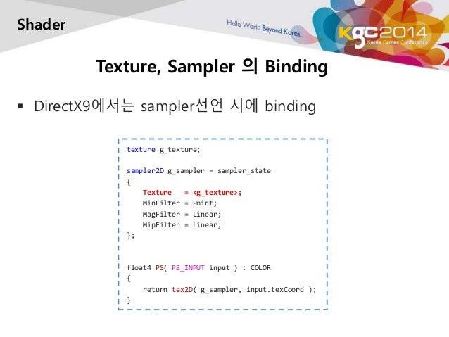 Texture, Sampler 의 Binding  Shader   DirectX9에서는 sampler선언 시에 binding  texture g_texture;  sampler2D g_sampler = sampler_...