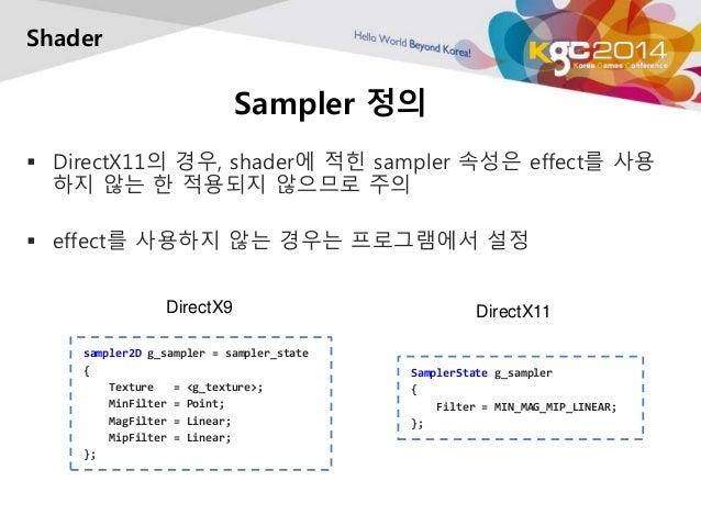 Sampler 정의  Shader   DirectX11의 경우, shader에 적힌 sampler 속성은 effect를 사용  하지 않는 한 적용되지 않으므로 주의   effect를 사용하지 않는 경우는 프로그램에서...