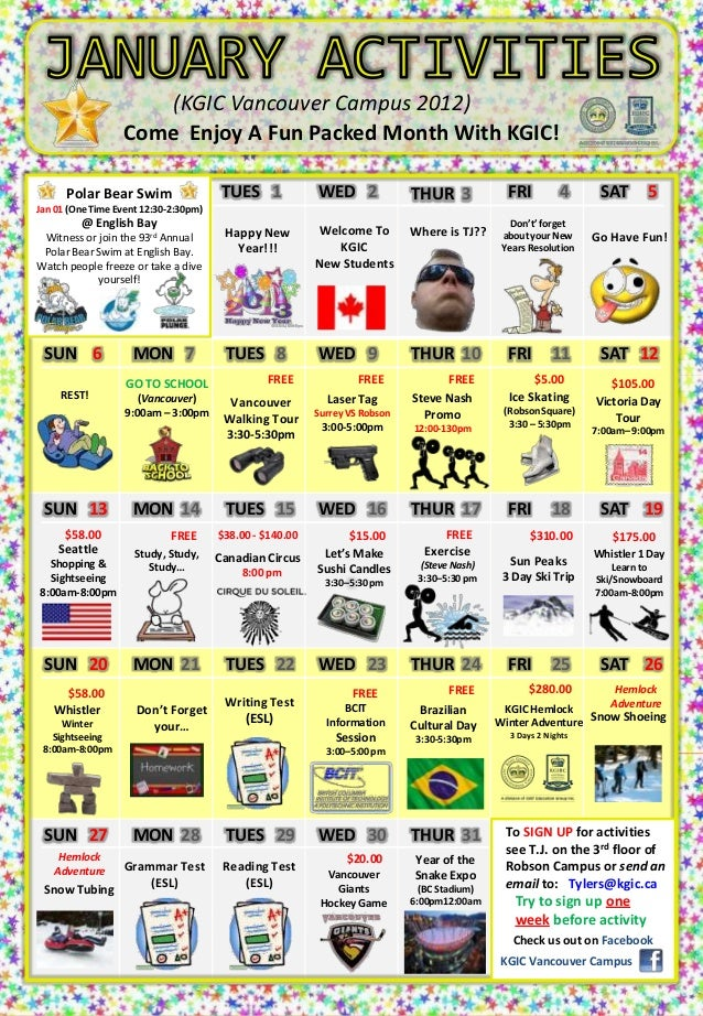 (KGIC Vancouver Campus 2012)                  Come Enjoy A Fun Packed Month With KGIC!      Polar Bear Swim               ...