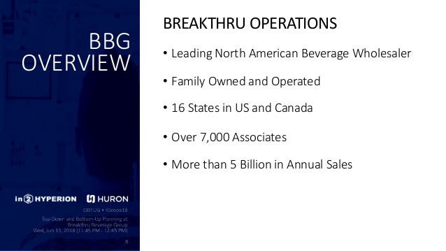 Top-Down and BottomS-Up Planning at Breakthru Beverage Group