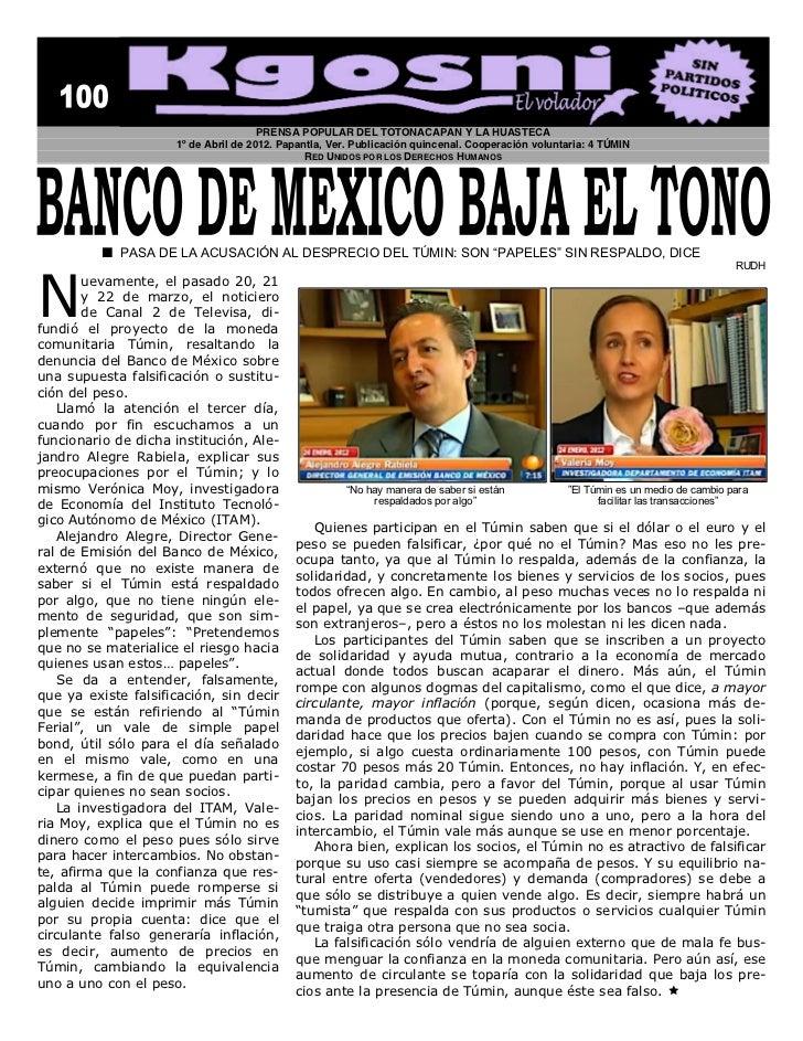 PRENSA POPULAR DEL TOTONACAPAN Y LA HUASTECA                            1º de Abril de 2012. Papantla, Ver. Publicación qu...