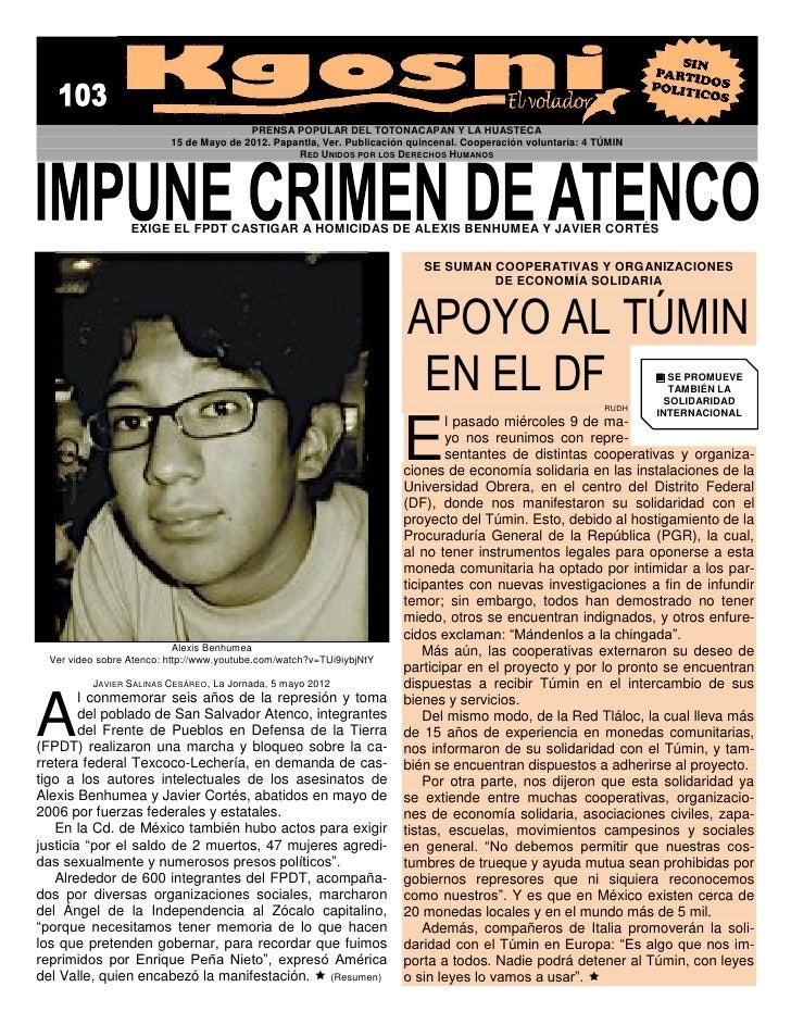 PRENSA POPULAR DEL TOTONACAPAN Y LA HUASTECA                          15 de Mayo de 2012. Papantla, Ver. Publicación quinc...