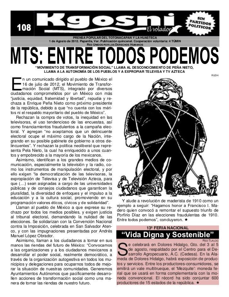 PRENSA POPULAR DEL TOTONACAPAN Y LA HUASTECA                     1 de Agosto de 2012. Papantla, Ver. Publicación quincenal...