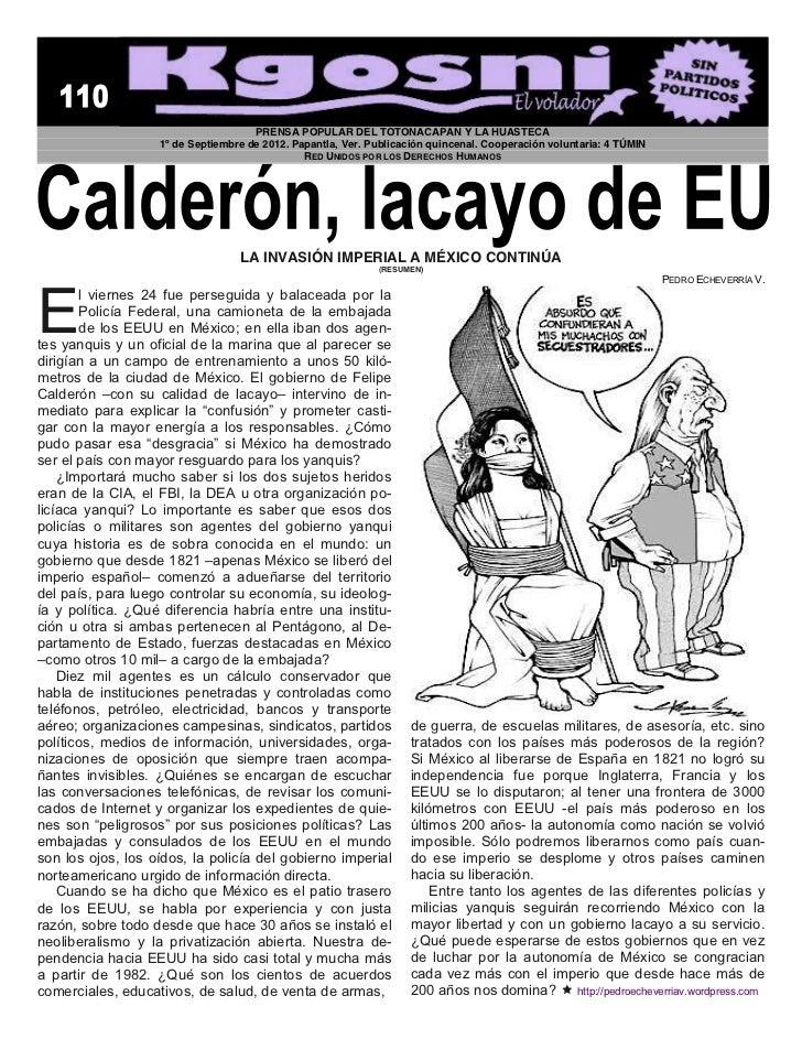 PRENSA POPULAR DEL TOTONACAPAN Y LA HUASTECA                   1º de Septiembre de 2012. Papantla, Ver. Publicación quince...