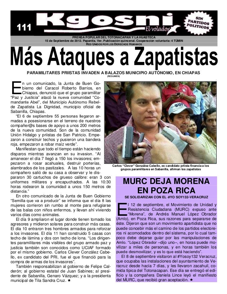 PRENSA POPULAR DEL TOTONACAPAN Y LA HUASTECA                  15 de Septiembre de 2012. Papantla, Ver. Publicación quincen...