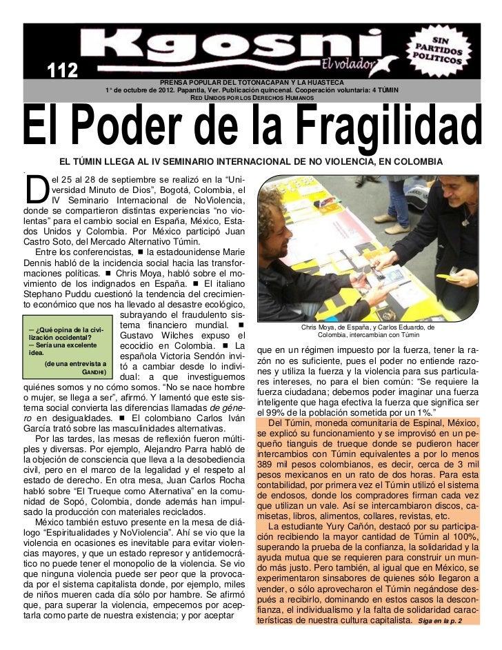 PRENSA POPULAR DEL TOTONACAPAN Y LA HUASTECA                     1° de octubre de 2012. Papantla, Ver. Publicación quincen...