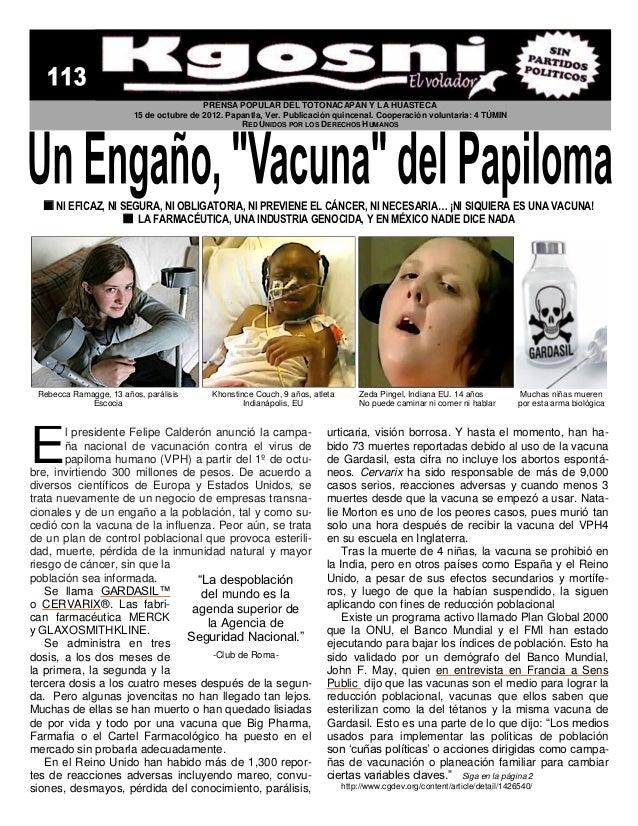 PRENSA POPULAR DEL TOTONACAPAN Y LA HUASTECA                        15 de octubre de 2012. Papantla, Ver. Publicación quin...