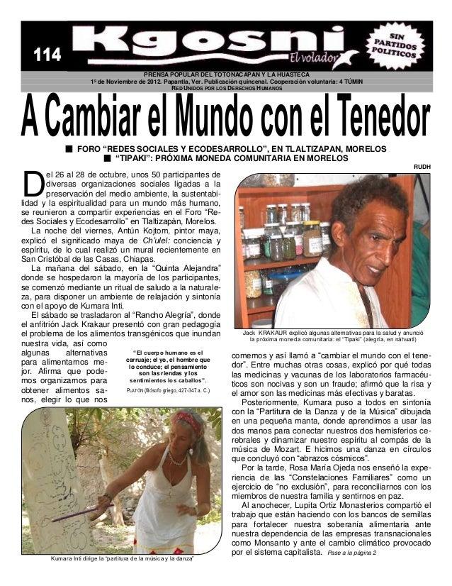PRENSA POPULAR DEL TOTONACAPAN Y LA HUASTECA                         1º de Noviembre de 2012. Papantla, Ver. Publicación q...