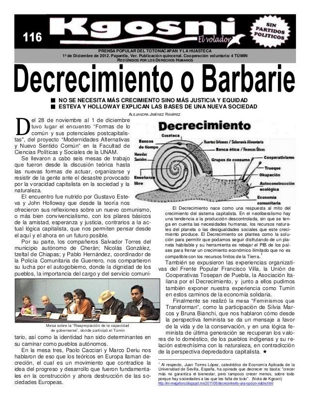 PRENSA POPULAR DEL TOTONACAPAN Y LA HUASTECA                     1º de Diciembre de 2012. Papantla, Ver. Publicación quinc...