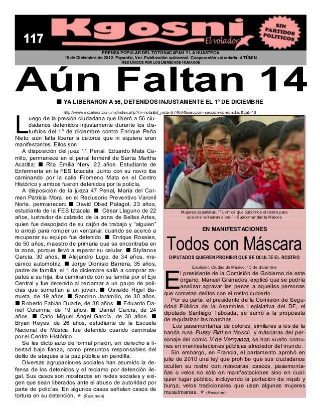 PRENSA POPULAR DEL TOTONACAPAN Y LA HUASTECA                    15 de Diciembre de 2012. Papantla, Ver. Publicación quince...