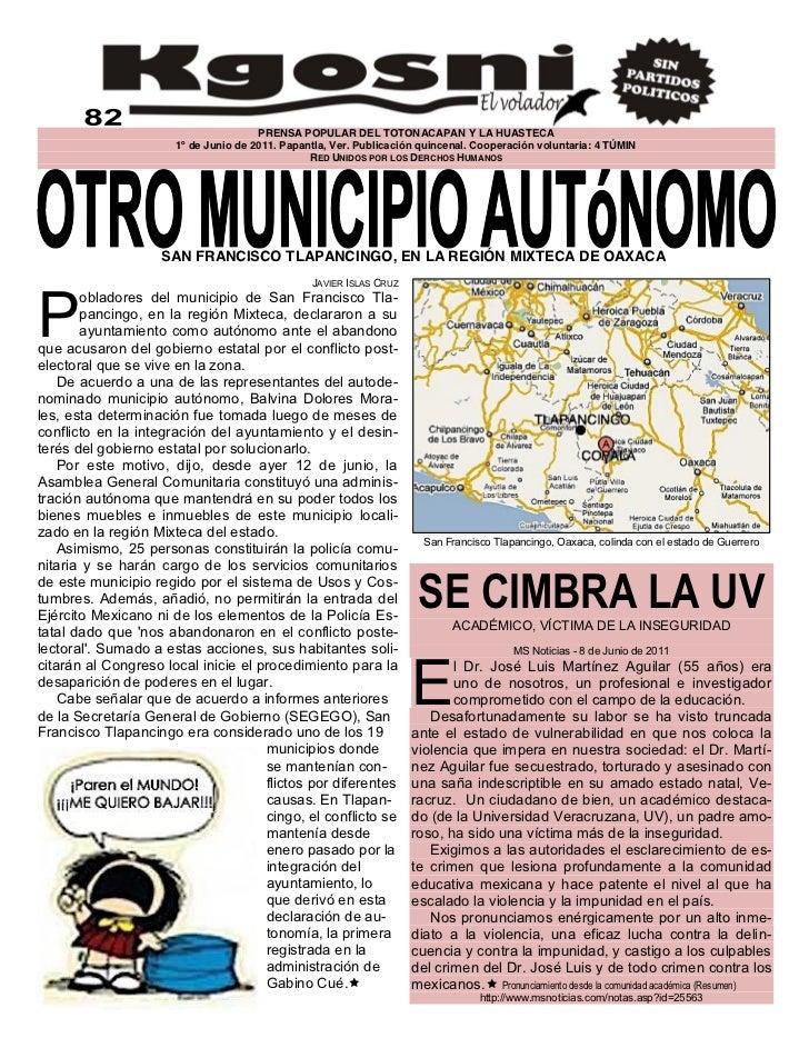 PRENSA POPULAR DEL TOTONACAPAN Y LA HUASTECA                      1º de Junio de 2011. Papantla, Ver. Publicación quincena...