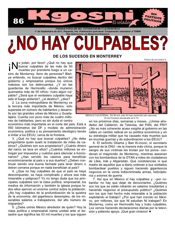PRENSA POPULAR DEL TOTONACAPAN Y LA HUASTECA                    1º de Septiembre de 2011. Papantla, Ver. Publicación quinc...