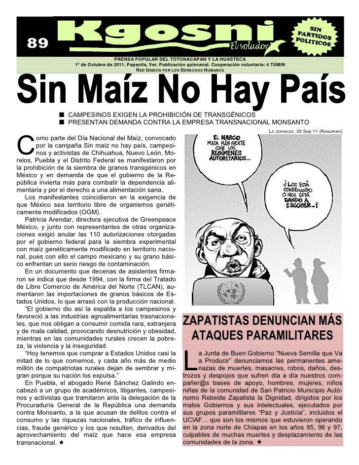 PRENSA POPULAR DEL TOTONACAPAN Y LA HUASTECA                    1º de Octubre de 2011. Papantla, Ver. Publicación quincena...