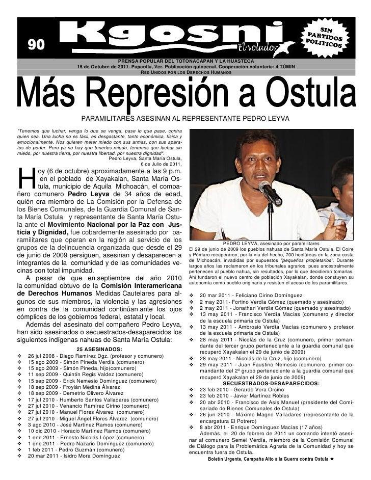 PRENSA POPULAR DEL TOTONACAPAN Y LA HUASTECA                            15 de Octubre de 2011. Papantla, Ver. Publicación ...