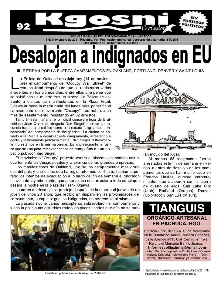 PRENSA POPULAR DEL TOTONACAPAN Y LA HUASTECA                     15 de Noviembre de 2011. Papantla, Ver. Publicación quinc...