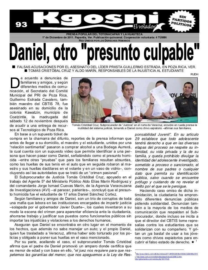 PRENSA POPULAR DEL TOTONACAPAN Y LA HUASTECA                                   1º de Diciembre de 2011. Papantla, Ver. Pub...