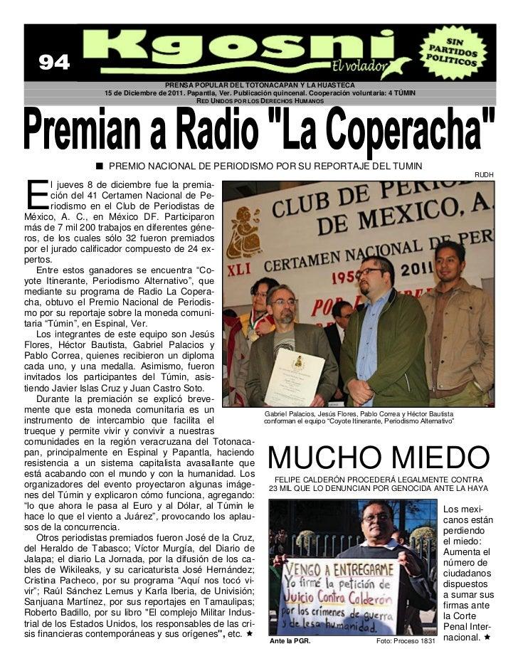PRENSA POPULAR DEL TOTONACAPAN Y LA HUASTECA                   15 de Diciembre de 2011. Papantla, Ver. Publicación quincen...