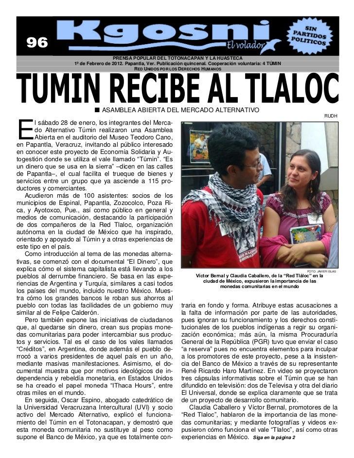 PRENSA POPULAR DEL TOTONACAPAN Y LA HUASTECA                    1º de Febrero de 2012. Papantla, Ver. Publicación quincena...