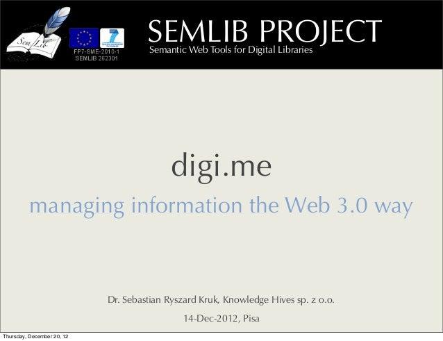 SEMLIB PROJECT                                     Semantic Web Tools for Digital Libraries                               ...