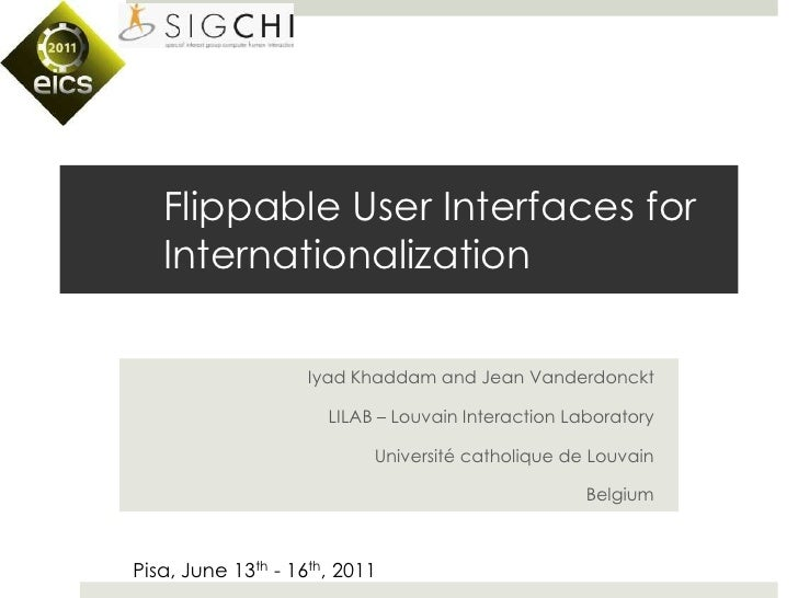 Flippable User Interfaces for Internationalization<br />IyadKhaddam and Jean Vanderdonckt<br />LILAB – Louvain Interaction...
