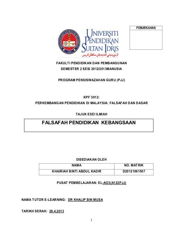 1PEMARKAHANFAKULTI PENDIDIKAN DAN PEMBANGUNANSEMESTER 2 SESI 2012/2013MANUSIAPROGRAM PENSISWAZAHAN GURU (PJJ)KPF 3012:PERK...