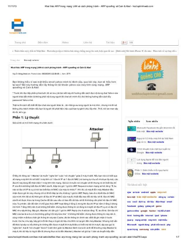 11/11/13  Khai thác ARP trong mạng LAN và cách phòng tránh - ARP spoofing và Cain & Abel - hoclaptrinhweb.com  Trang chủ  ...