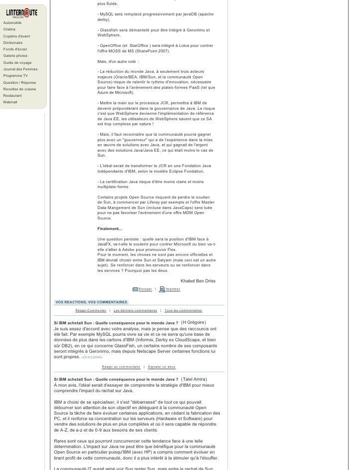 Si IBM achetait Sun : Quelle conséquence pour le monde Java ? Slide 2