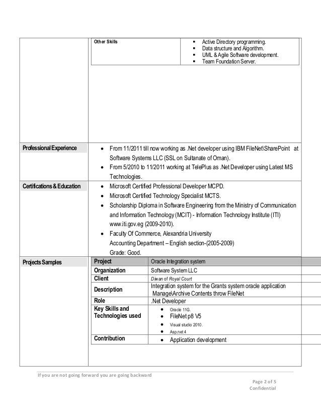 Sample cover letter sample resume using sharepoint project for Sharepoint sample resume developers