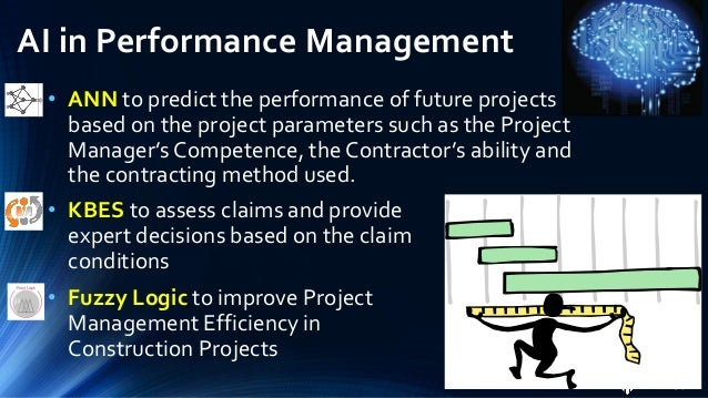 AI in PM AITools Design Planning Cost Estimation Risk Management Performance Management KBES ANN GA Fuzzy Logic