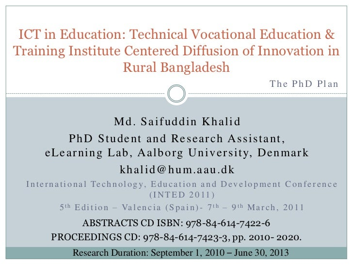 ICT in Education: Technical Vocational Education & Training Institute Centered Diffusion of Innovation in Rural Bangladesh...