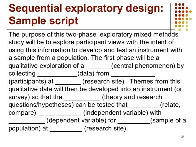 21The purpose of this two-phase, exploratory mixed methodsstudy will be to explore participant views with the intent ofusi...