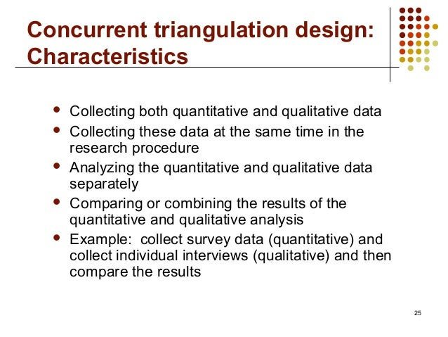 25Concurrent triangulation design:Characteristics Collecting both quantitative and qualitative data Collecting these dat...