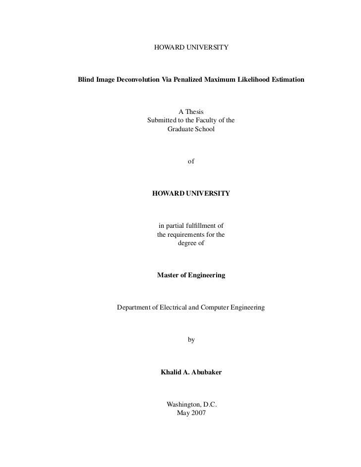 HOWARD UNIVERSITY    Blind Image Deconvolution Via Penalized Maximum Likelihood Estimation                                ...