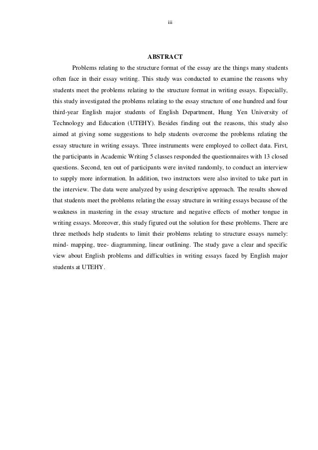 nguyen thi nga 3 iii abstract problems relating to the structure format of the essay - Essay Structure Format