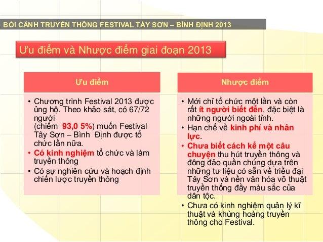 BỐI CẢNH TRUYỀN THÔNG FESTIVAL TẤY SƠN – BÌNH ĐỊNH 2013  Ưu điểm và Nhược điểm giai đoạn 2013 Ƣu điểm  Nhƣợc điểm  • Chươn...