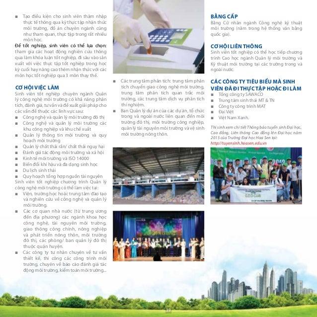 Nội dung chương trình ■■ Các môn chuyên ngành tập trung vào các biện pháp quản lý chất lượng môi trường, quản lý tài nguyê...