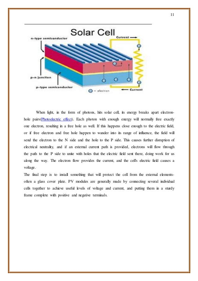 11 When light, in the form of photons, hits solar cell, its energy breaks apart electron- hole pairs(Photoelectric effect)...