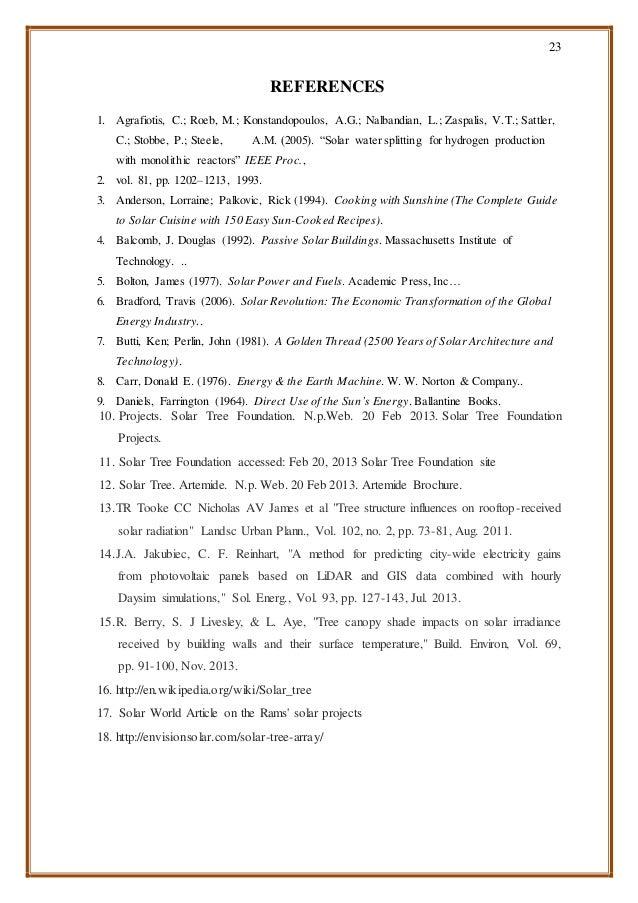 23 REFERENCES 1. Agrafiotis, C.; Roeb, M.; Konstandopoulos, A.G.; Nalbandian, L.; Zaspalis, V.T.; Sattler, C.; Stobbe, P.;...
