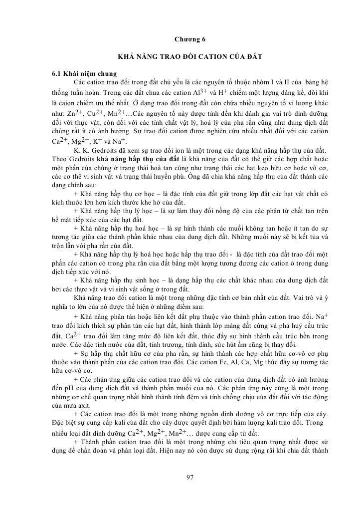 Chương 6                        KHẢ NĂNG TRAO ĐỔI CATION CỦA ĐẤT  6.1 Khái niệm chung         Các cation trao đổi trong đấ...