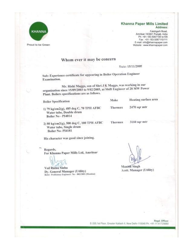 Khanna Paper Certificate For Boiler Operation Engineer