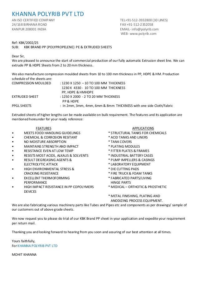 KHANNA POLYRIB PVT LTDAN ISO CERTIFIED COMPANY TEL+91-512-3932800 (30 LINES)24/168 BIRHANA ROAD FAX +91-512-2352058KANPUR ...