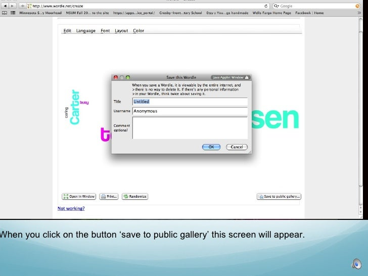 When you click on the button 'save to public gallery' this screen will appear.