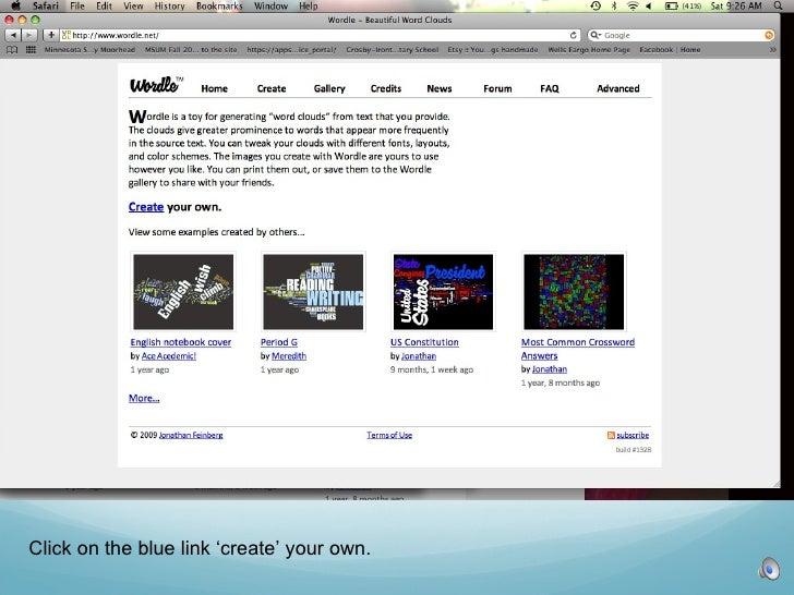 Click on the blue link 'create' your own.