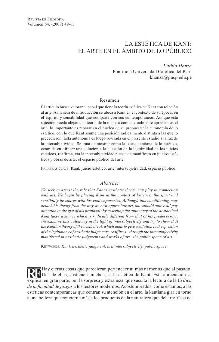 REVISTA DE FILOSOFÍAVolumen 64, (2008) 49-63                                            LA ESTÉTICA DE KANT:              ...
