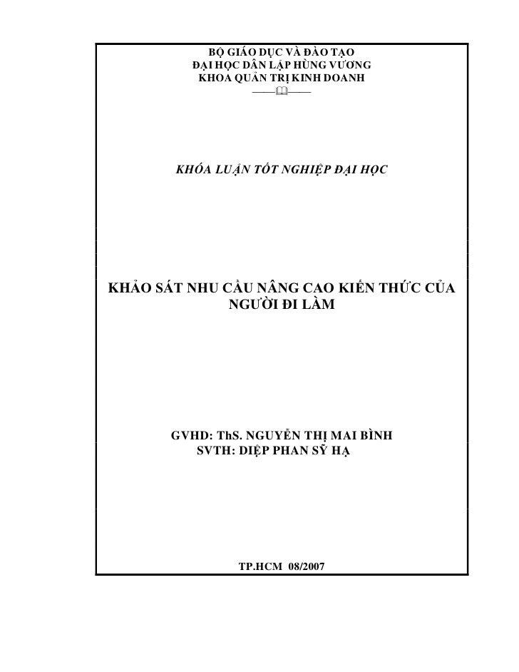 BỘ GIÁO DỤC VÀ ĐÀO TẠO         ĐẠI HỌC DÂN LẬP HÙNG VƯƠNG          KHOA QUẢN TRỊ KINH DOANH                         K...