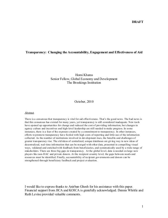 DRAFT Transparency: Changing the Accountability, Engagement and Effectiveness of Aid Homi Kharas Senior Fellow, Global Eco...